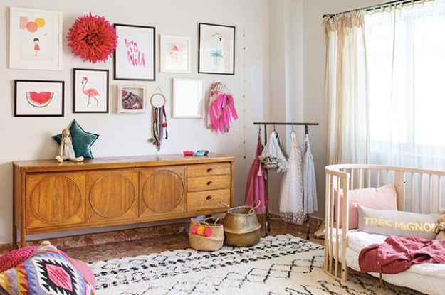 Vintage midcentury sideboard in little girls room