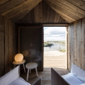 Wood interior of luxury cabin for rent Cabanas no Rio