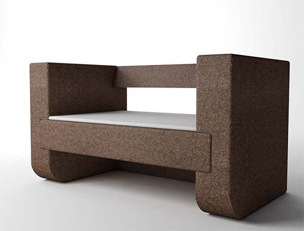 Bench made from cork at London Design Festival