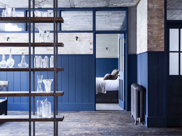Blue environmentally friendly paint in industrial interior by Eico