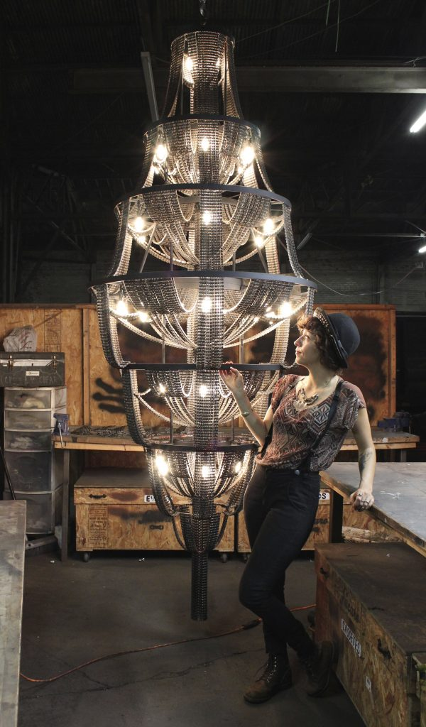 Carolina Fontoura Alzaga chandelier made from recycled bicycle chains