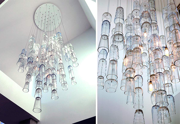 Chandelier made from glasses