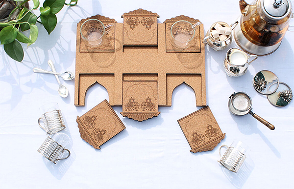 Coaster set made from cork