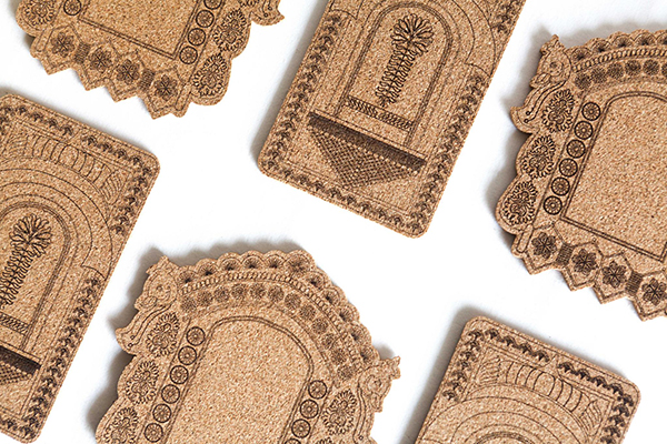 Coasters made of cork