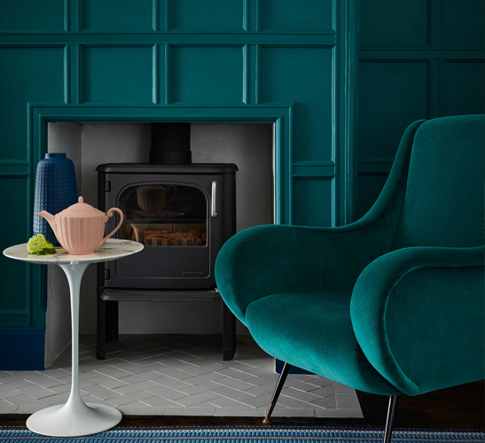 LIving room painted dark teal