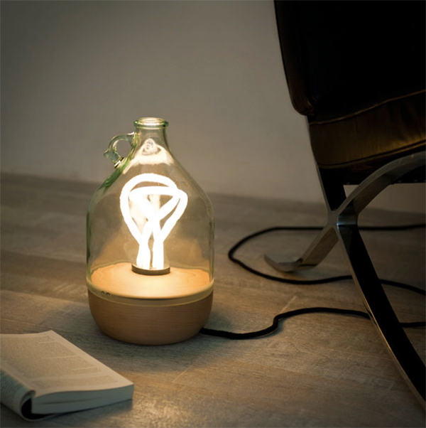 Lamp made from an olive oil bottle