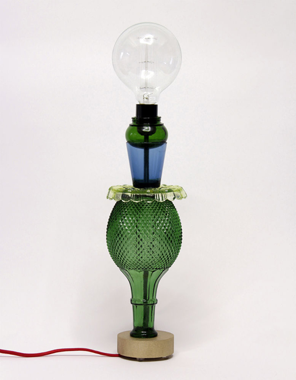 Lamp made from stacked vintage glassware