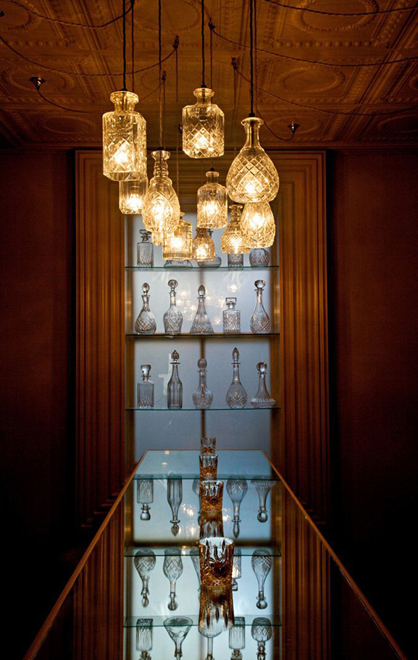 Lighting made from crystal decanters by Lee Broom