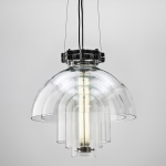 Lighting made from repurposed glass objects by deForm