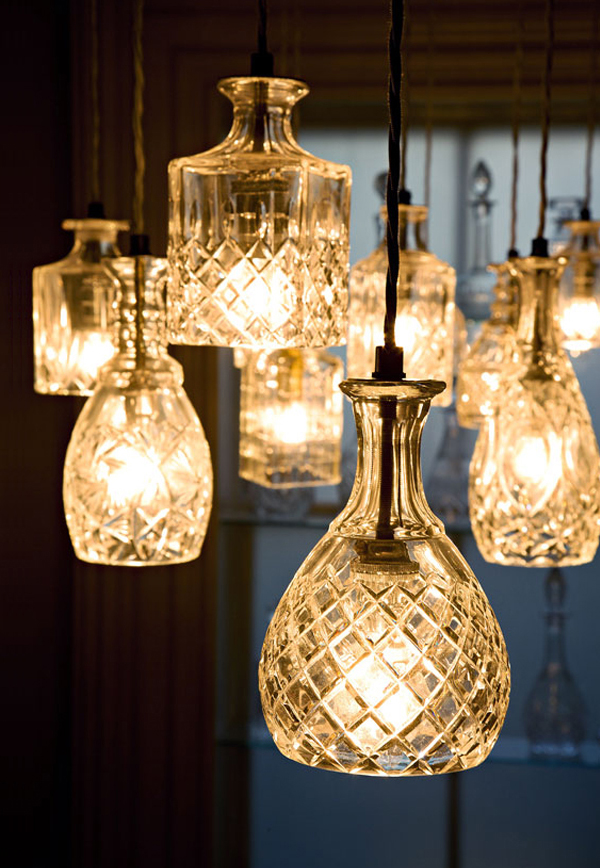 Lighting made from repurposed vintage glass decanters