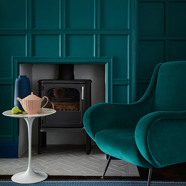 Living room painted in Mid azure green paint by Little Greene