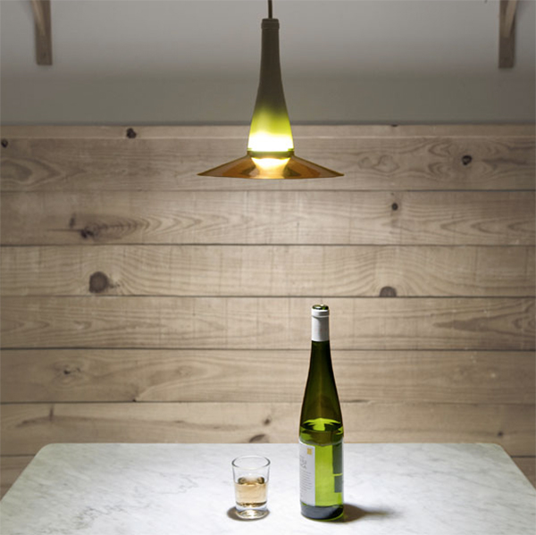 Pendant light made from a wine bottle by Lucirmas