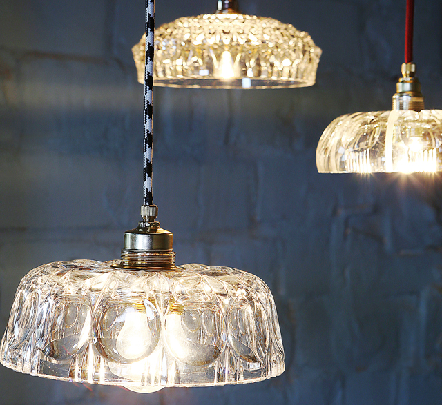 Pendant lights made from upcycled vintage crystal bowls by Rafinesse and Tristesse