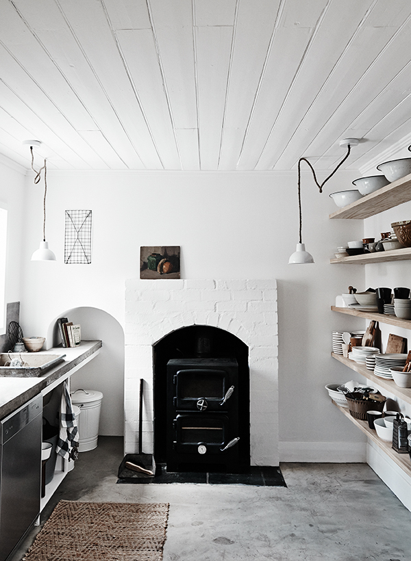 Period features and modern rustic interior decor in the kitchen