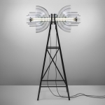 Transmission sculpture made from repurposed chemical apparatus by deForm