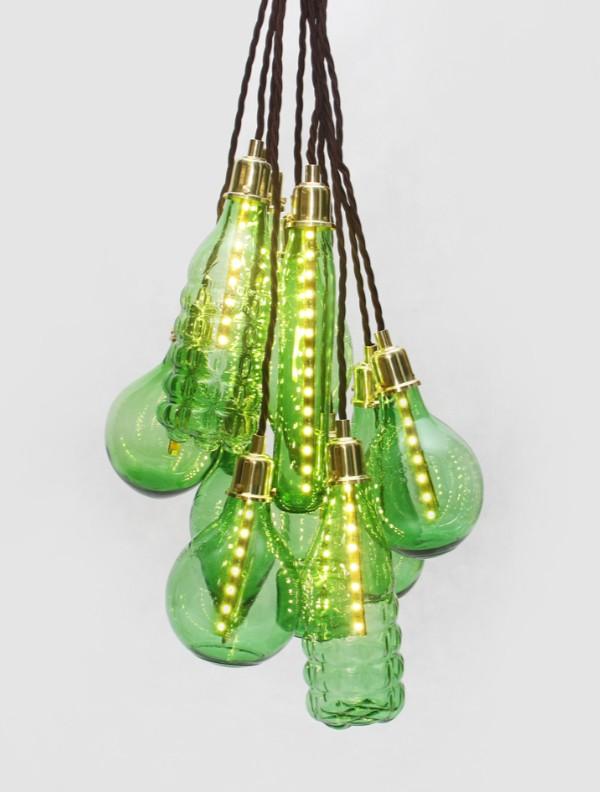 statement lighting made from upcycled plastic bottles by studio swine