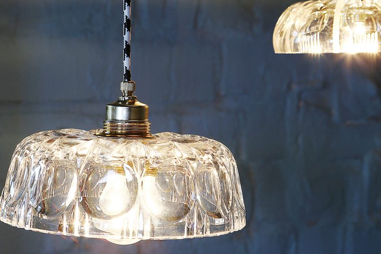 upcycled lighting made from repurposed crystal bowls