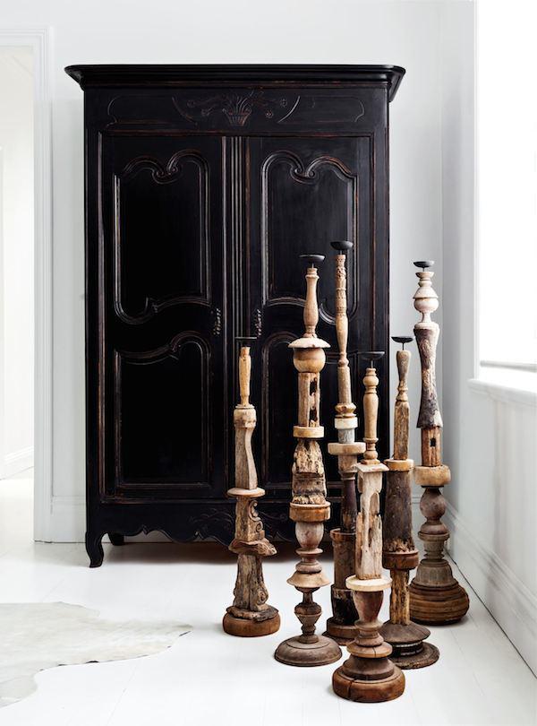 Black painted armoire by Les Interieurs