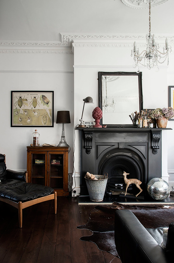 Black painted fireplace styled by Carole Poirot