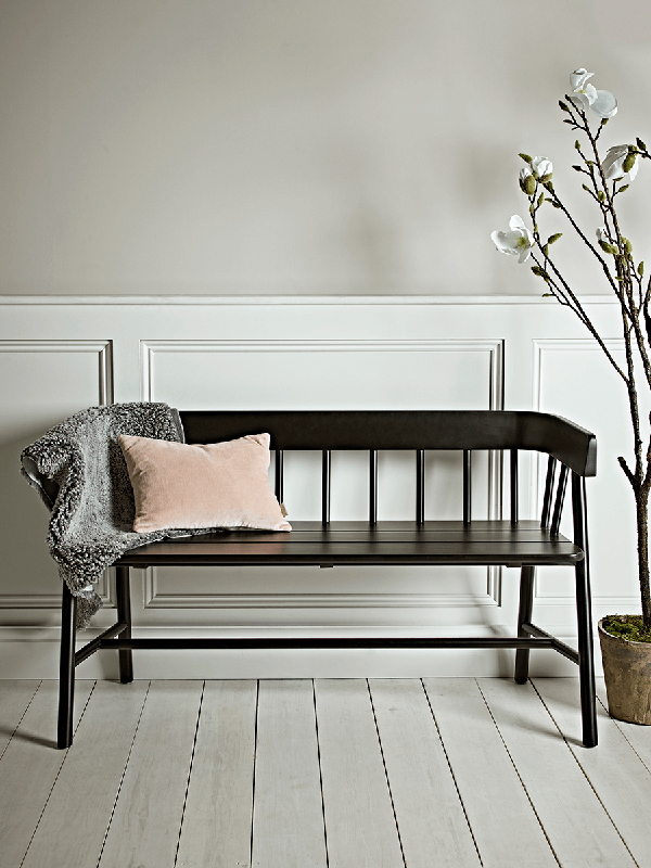 Black painted reclaimed teak bench from Cox and Cox