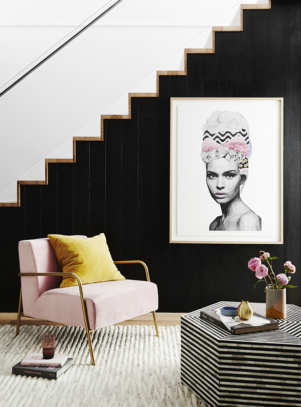 Black panelling in a modern interior
