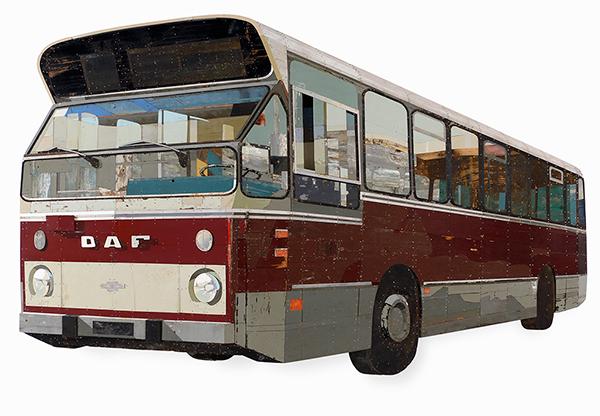 Bus depicted in salvaged wood by Ron van der Ende