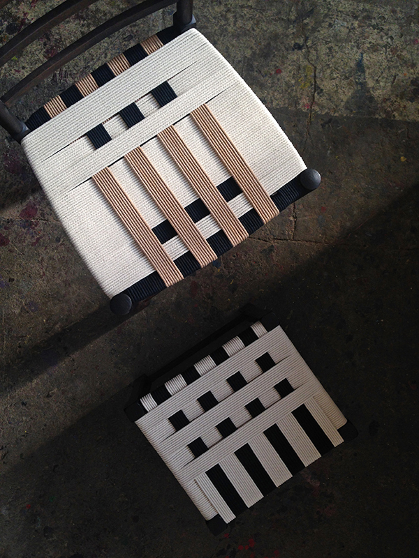 Chair and stool reworked with contemporary woven textile