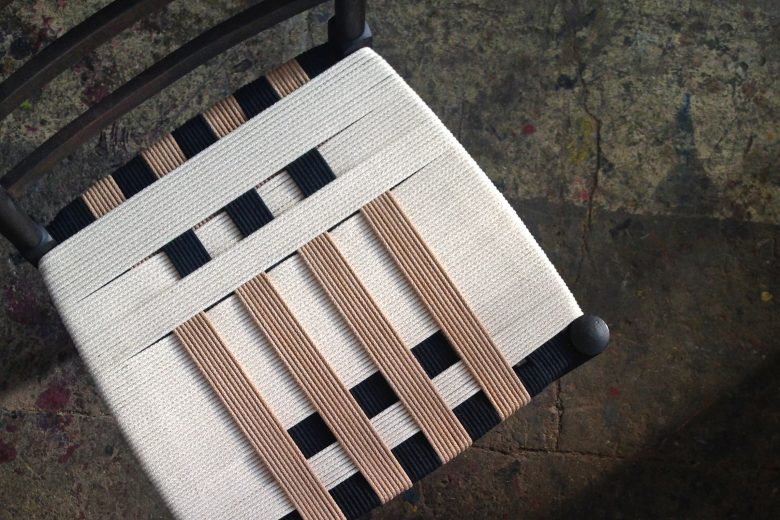 Chair upcycled with woven fabric