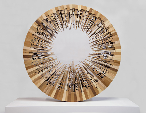 Contemporary sculpture made from scrap wood