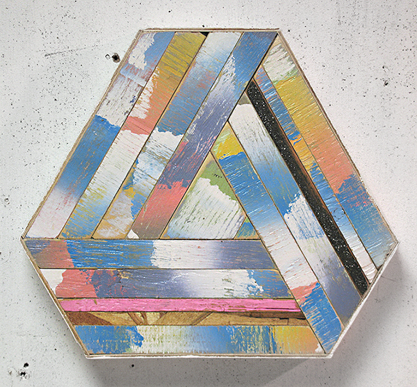Contemporary wood sculpture made from scrap by Aaron S Moran