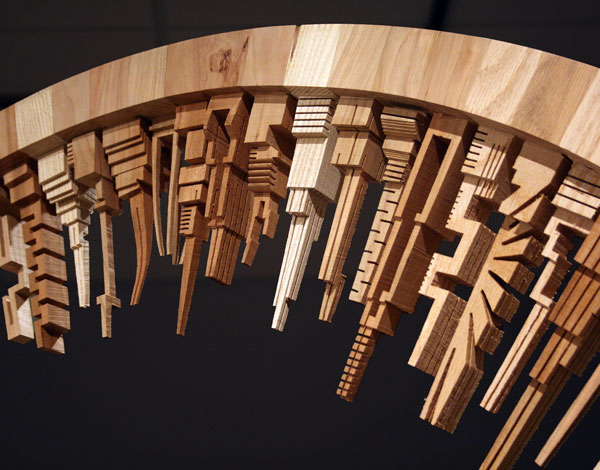 Detail of scrap wood sculpture by James McNabb