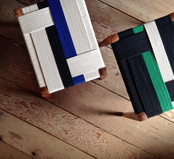 Furniture upcycled with contemporary textile weaving by Jo Elbourne