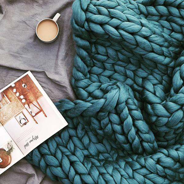 Giant teal knitted chunky pure wool blanket