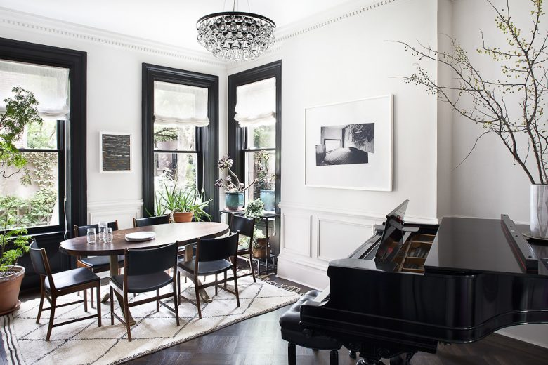 High ceilings and black painted window frames