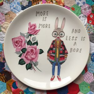Iris Apfel bunny plate by The Story Book Rabbit