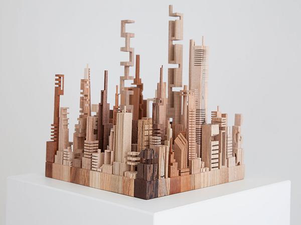 Metropolis contemporary wood sculpture by James McNabb
