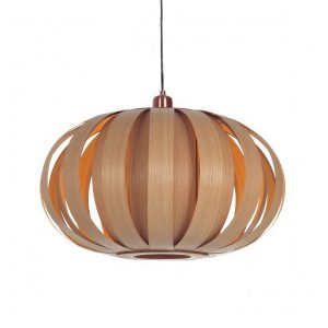 Pendant lampshade made from wood by Tom Raffield