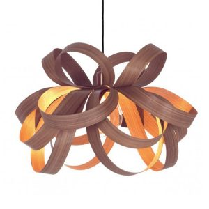 Pendant light made from wood by Tom Raffield
