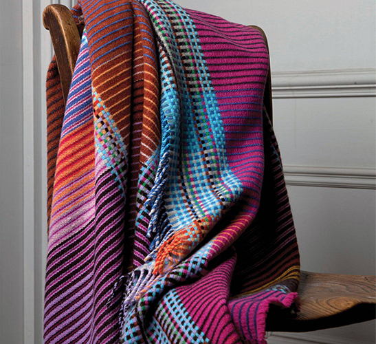Pink multicoloured wool throw