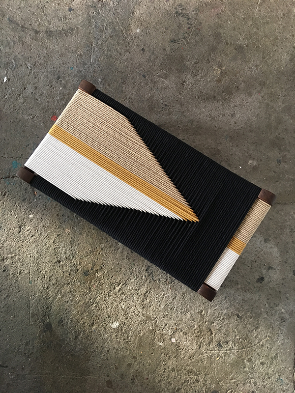 Stool reworked with contemporary textile weaving by Cumulo Design