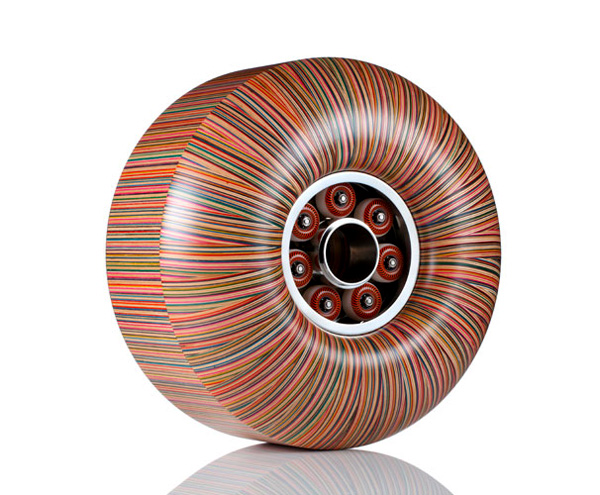 Wheel sculpture made from scrap skate board decks by Haroshi.jpg