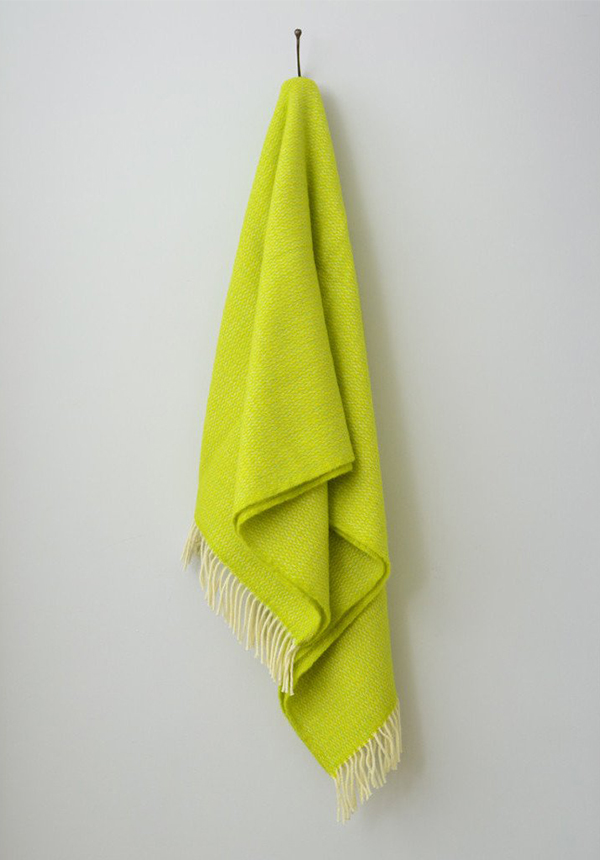 Zesty yellow and lime pure wool blanket by The British Blanket Company