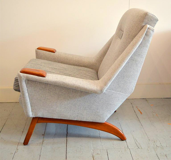 1950s Danish teak reupholstered armchair by Solomon Retro London