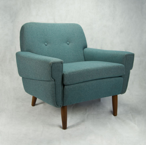 Blue Danish 1960s chair by Nicely Wrapped Upholstery