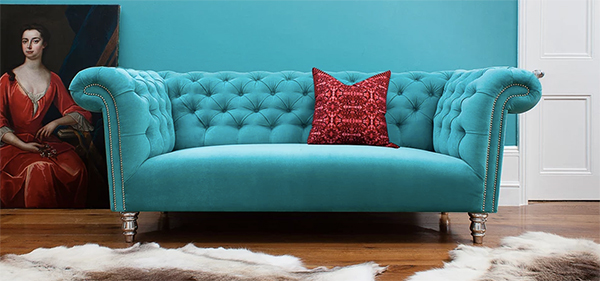 Bright blue sofa by Antonio upholstery London