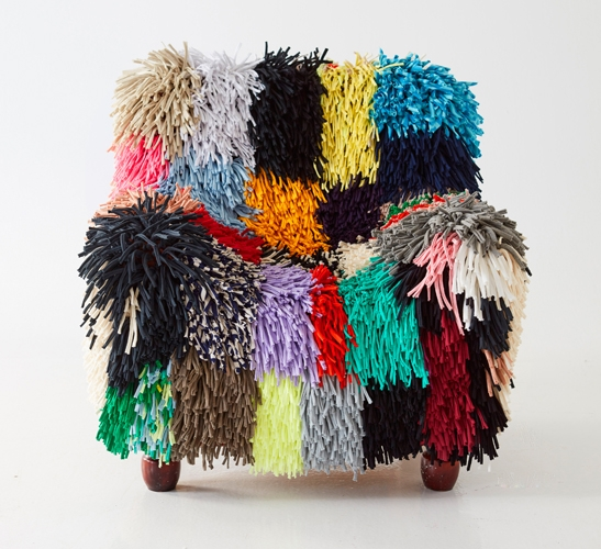 Chair cover made from shredded waste textile by Ragamuf