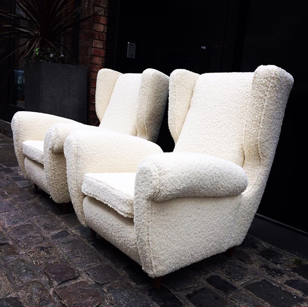Chairs upholstered with Pierre Frey fabric by 7 Upholstery London