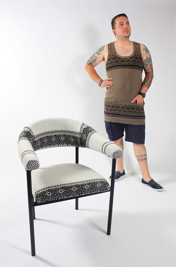 Chairs upholstered with upcycled clothing by The Chairhouse