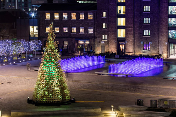 Christmas Tree made from sledges in Kings Cross