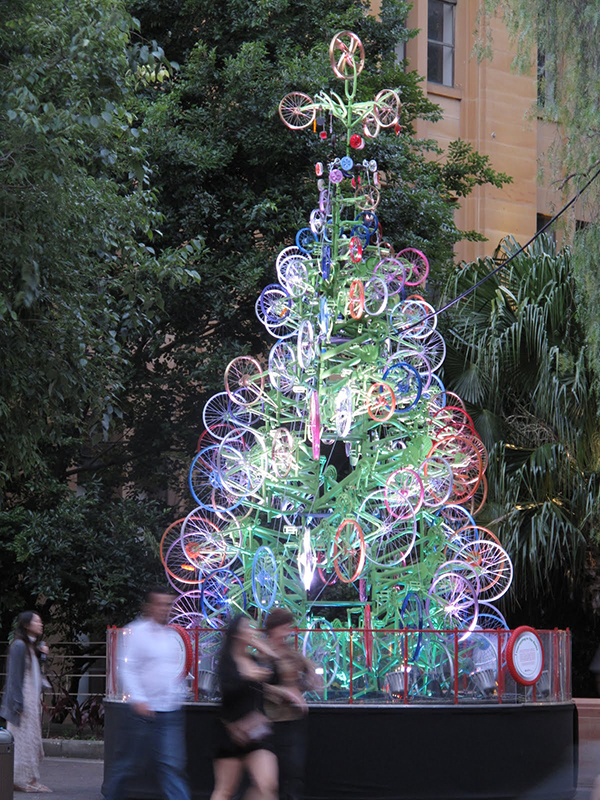 Christmas tree made from bicycles in Sydney